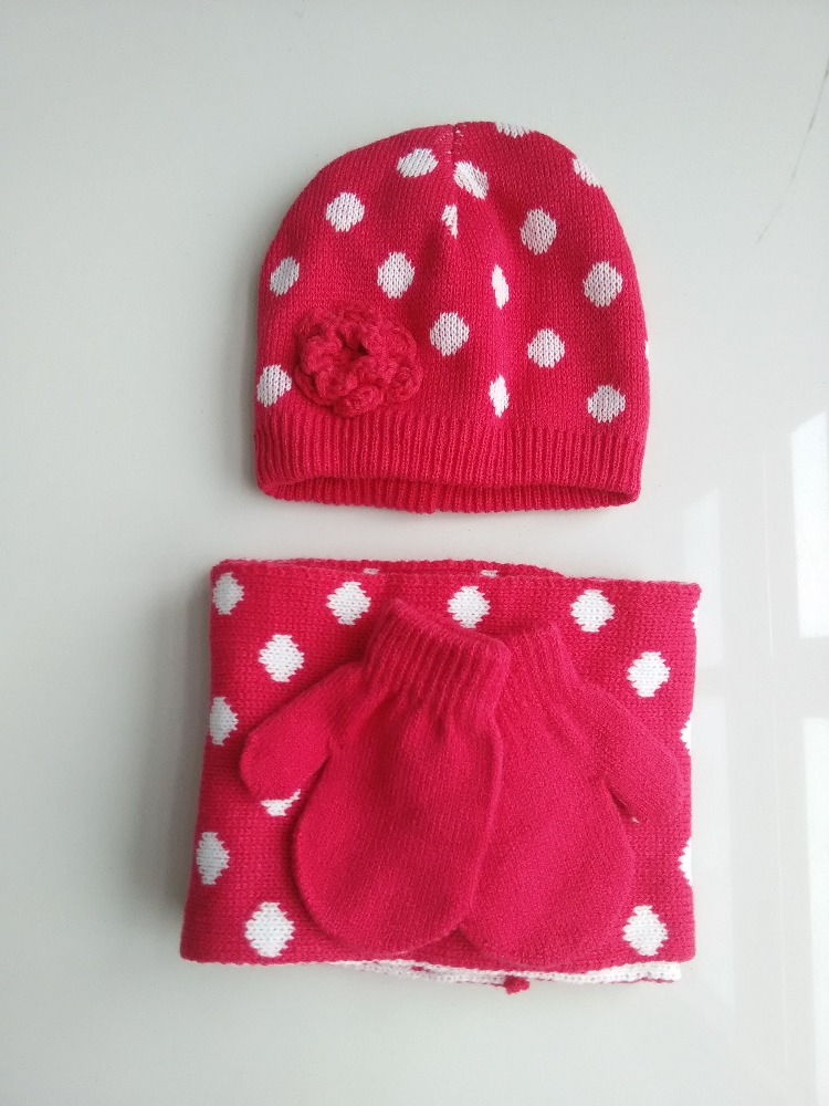Kids Delightful Knitted Hat Scarf Gloves Set
