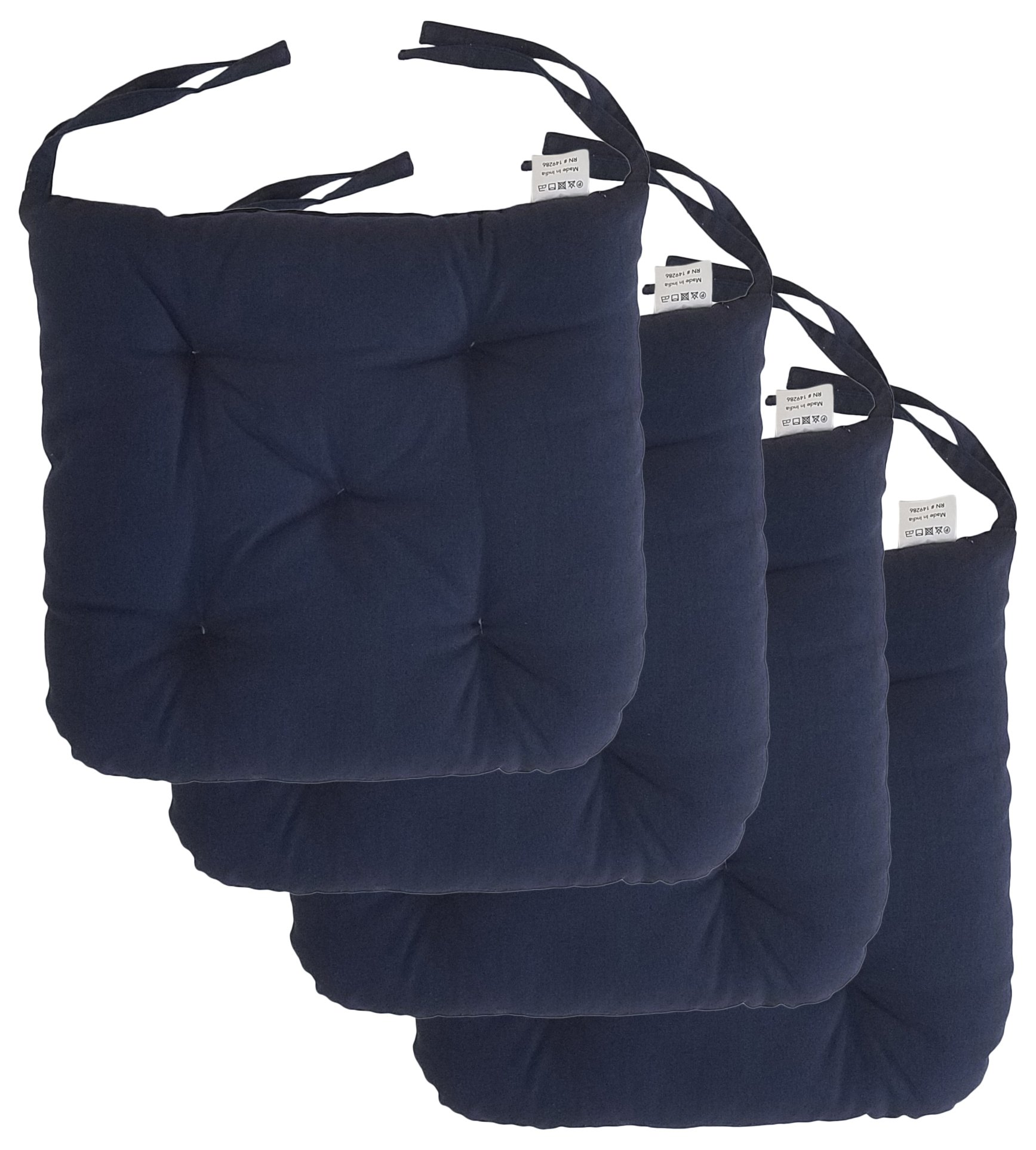 """Cottone 100% Cotton Chair Pads w/ Ties (Set of 4)   16"""" x 15"""" Round Square   Extra-Comfortable & Soft Seat Cushion   Ergonomic Pillows for Rocking, Dining, Patio, Camping, Kitchen Chairs & More (Navy)"""