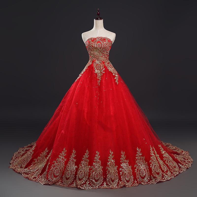 Großhandel hochzeitskleider mit rot Kaufen Sie die besten ...