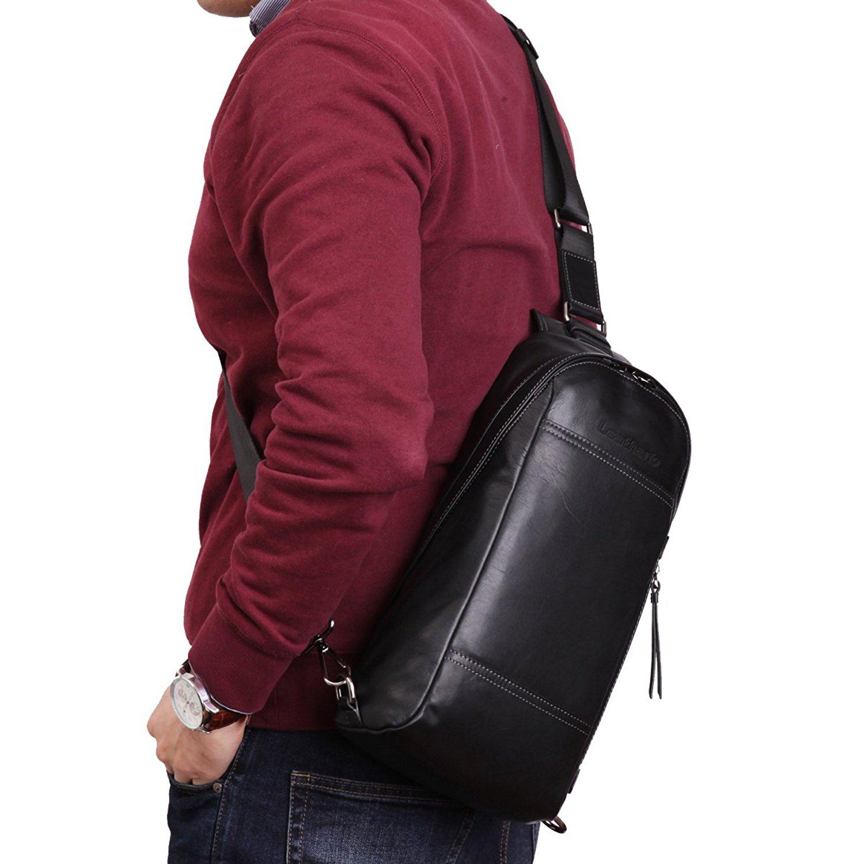 4e97f3a5b2 Leathario Mens Leather Sling bag Cross body Bag Chest Bag Sling Shoulder  Backpack