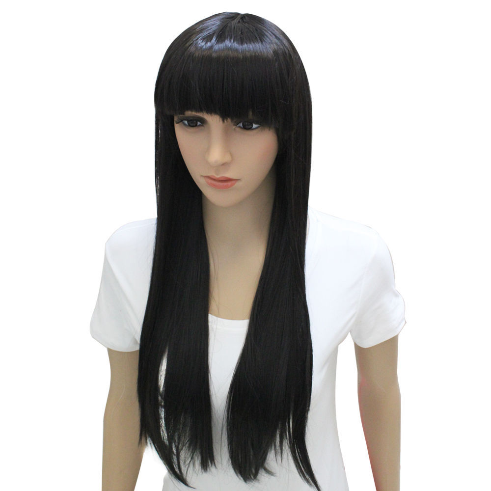 Fashion Womens Lolita Wigs Full Bangs Long Straight Wig Cosplay Party Full Hair Wigs
