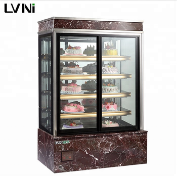 LVNI commercial marble glass bakery pastry cake display refrigerator cabinet showcase