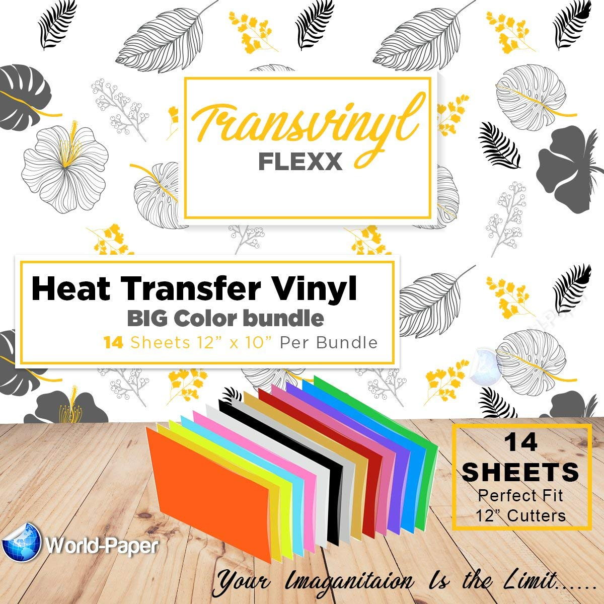 "Heat Transfer Vinyl Bundle | 14 Sheets + 1 Bonus Teflon Sheet Iron On | HTV Silhouette for Cameo, Cricut, Die-Cut or Heat Press Machine | Assorted Colors | 12""x10"""