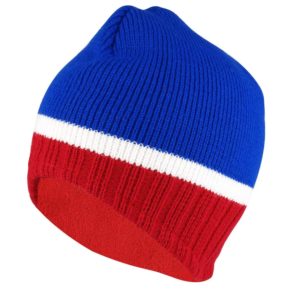e89ff1871ad Get Quotations · Multicolored Fleece Lining Trimmed Acrylic Beanie with  Short Earflaps