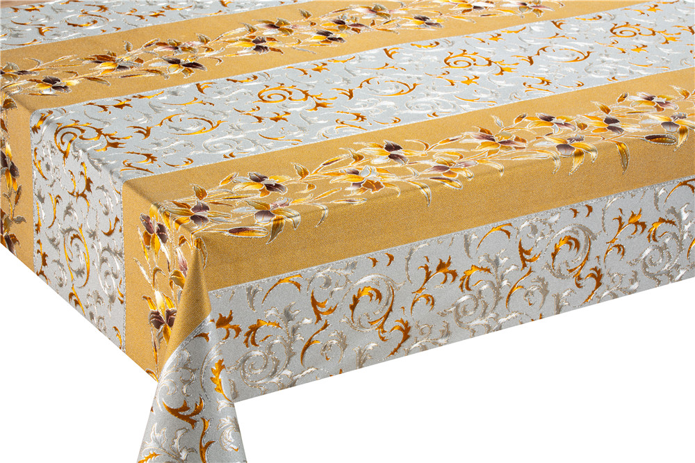 PVC  metallic  gold sequin table cloth