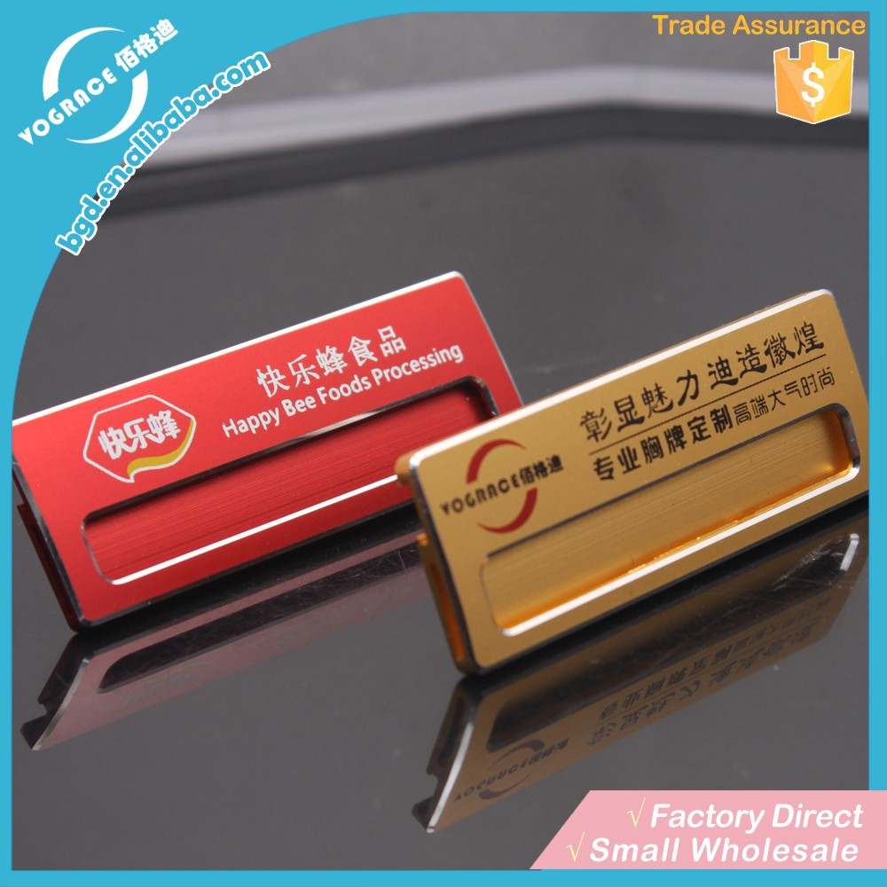 Changeable hotel aluminum alloy <strong>metal</strong> type magnetic cheap and popular nameplate