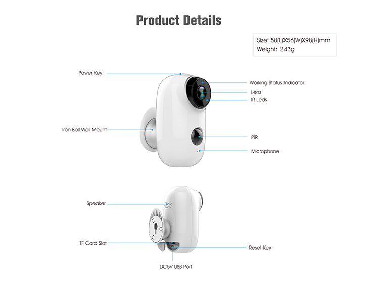 2019 new arrivals 720P/1080P Wire-free Battery Ip Camera Home CCTV Security Camera System Wireless