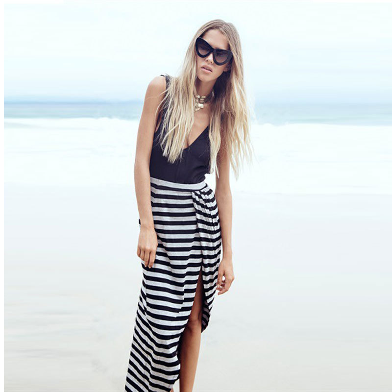 2015 New Summer Women Fit Flare Asymmetry Slit Beach Dress Ladies Striped Maxi Dresses Long Sexy Club Vest V neck Dress Black