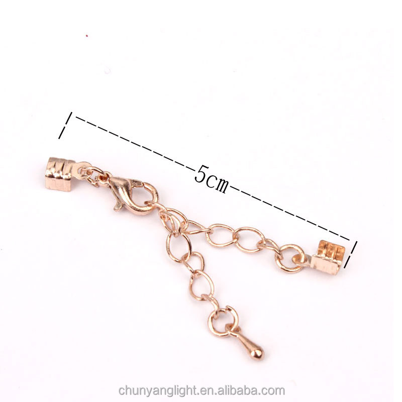 50mm Rose Gold Clasp Leather Cord Ends Lobster Claw Snap Hook and Extender Chain with Foldover Crimp Connectors for Bracelet