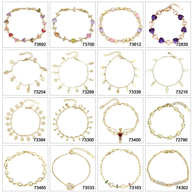74010 xuping chain bracelet heart, women cheap chinese jewelry