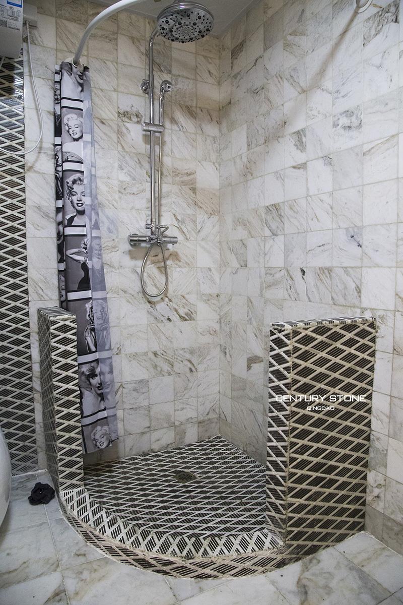 Badkamer ontwerp marmeren tegels moza eken anti slip zwart en wit marmer douche vloer mesh rug - Donker mozaieken badkamer ...