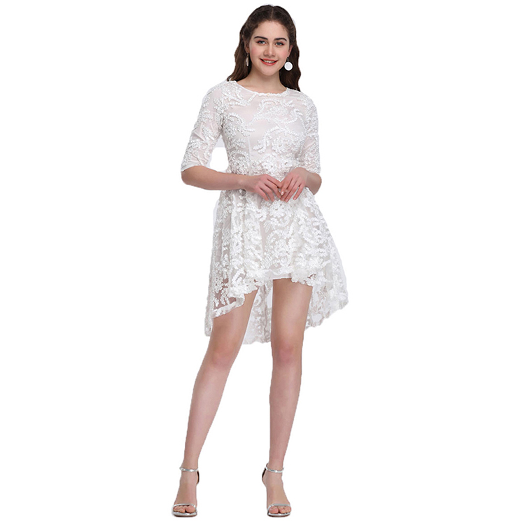 High Quality White <strong>Lace</strong> Hollow High Half Sleeve Summer <strong>Skater</strong> <strong>Dress</strong>