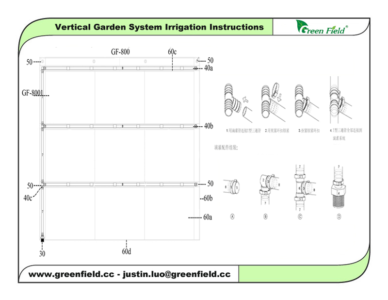 Gentil Green Field Vertical Garden With Self Watering Irrigation System