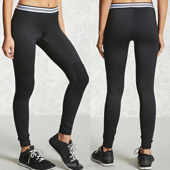 14d6369a36d65 Active Ribbed Knee Leggings With Ribbed Mesh Panels At The Knees ...