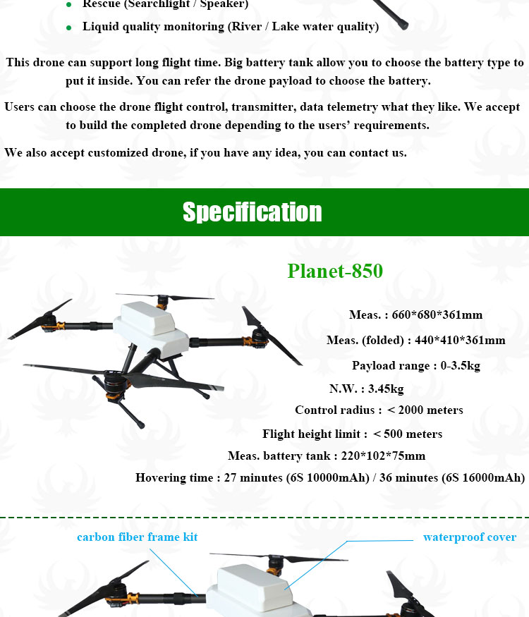 Multi-rotors fire safety protection detecting electric inspection patrol drone thermal imaging camera aerial photography drone