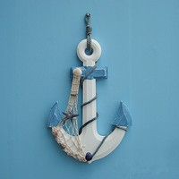 Durable Mediterranean Style Wooden Ship Anchor Home Wall Hanging Ornaments Decoration
