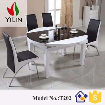 Tavoli Da Pranzo Rotondi In Vetro.T202 Design Moderno Partita Bianco Nero Rotondo Tavolo Da Pranzo