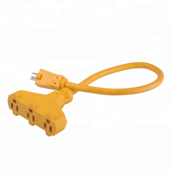 Outdoor Extension Cord with 3-Outlet Power Block Green   Woods 984413 25-Foot