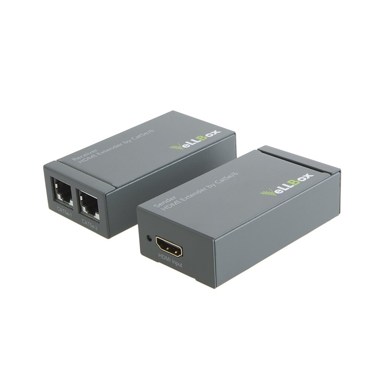 VeLLBox HDMI Extender 60m by cat-5e/6/7 cable 60m, Support Resolution up to 1080p 5V/2A Universal Power Adapter, Grey