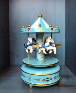 Wholesale baby gift carousel music box wooden
