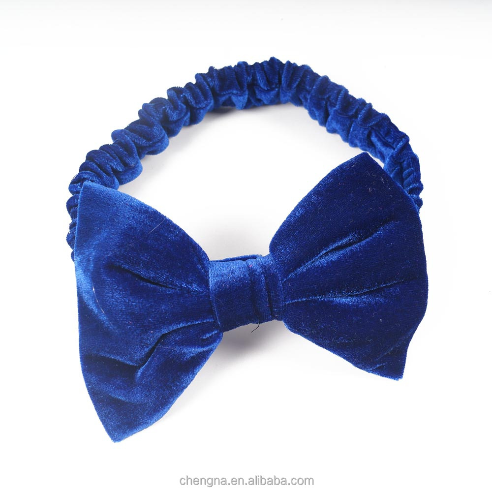 HD-1603246 Wholesale Comfortable Bow Tie Decorated Velvet Headbands for Babies