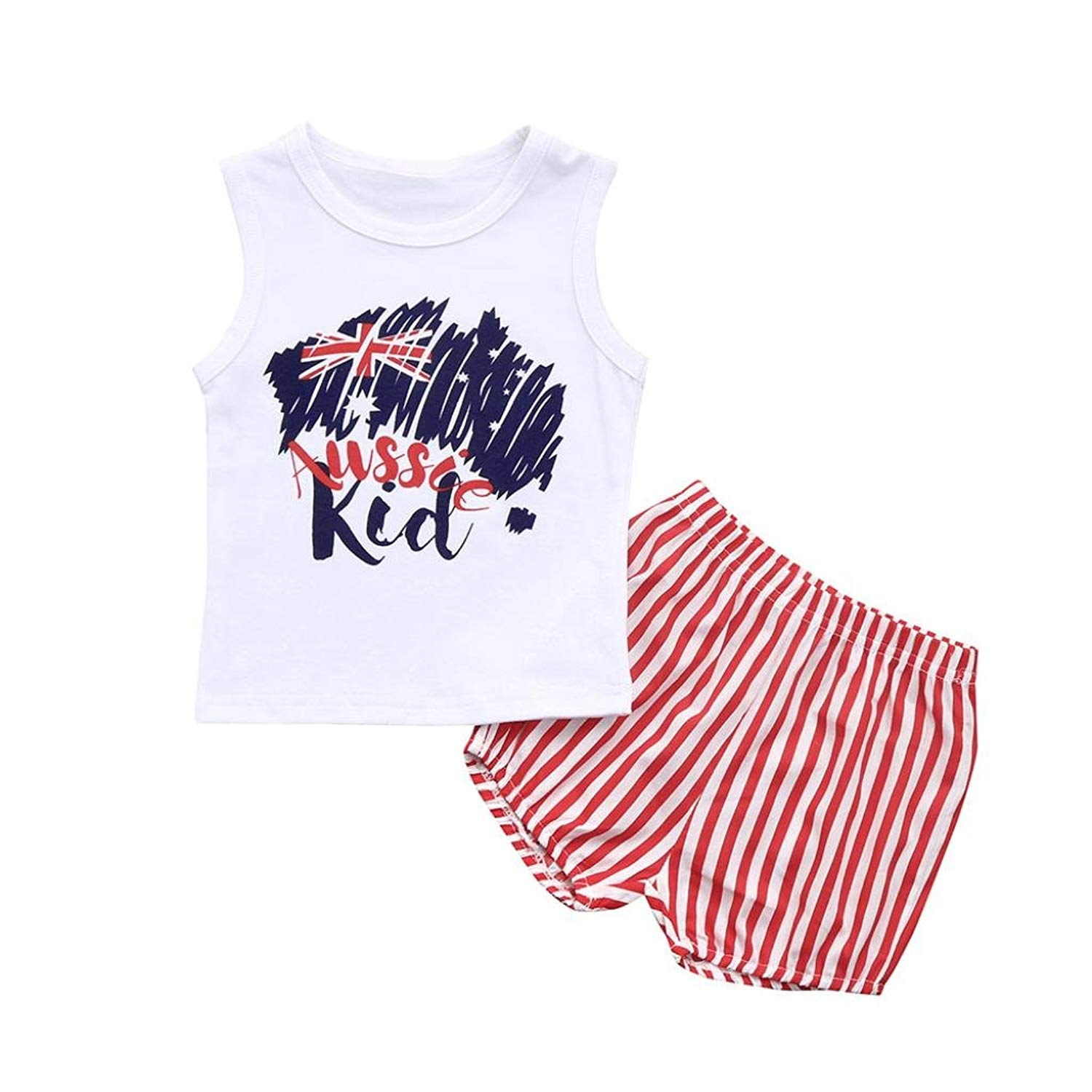 bfa49e15b Get Quotations · Aniywn Summer Infant Baby Girls Boys Letter Striped Star Tops  Vest+Shorts Cool Fashion Outfits