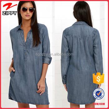 2016 New Design Women Shirt Dress Long Sleeve Denim For Casual Wear