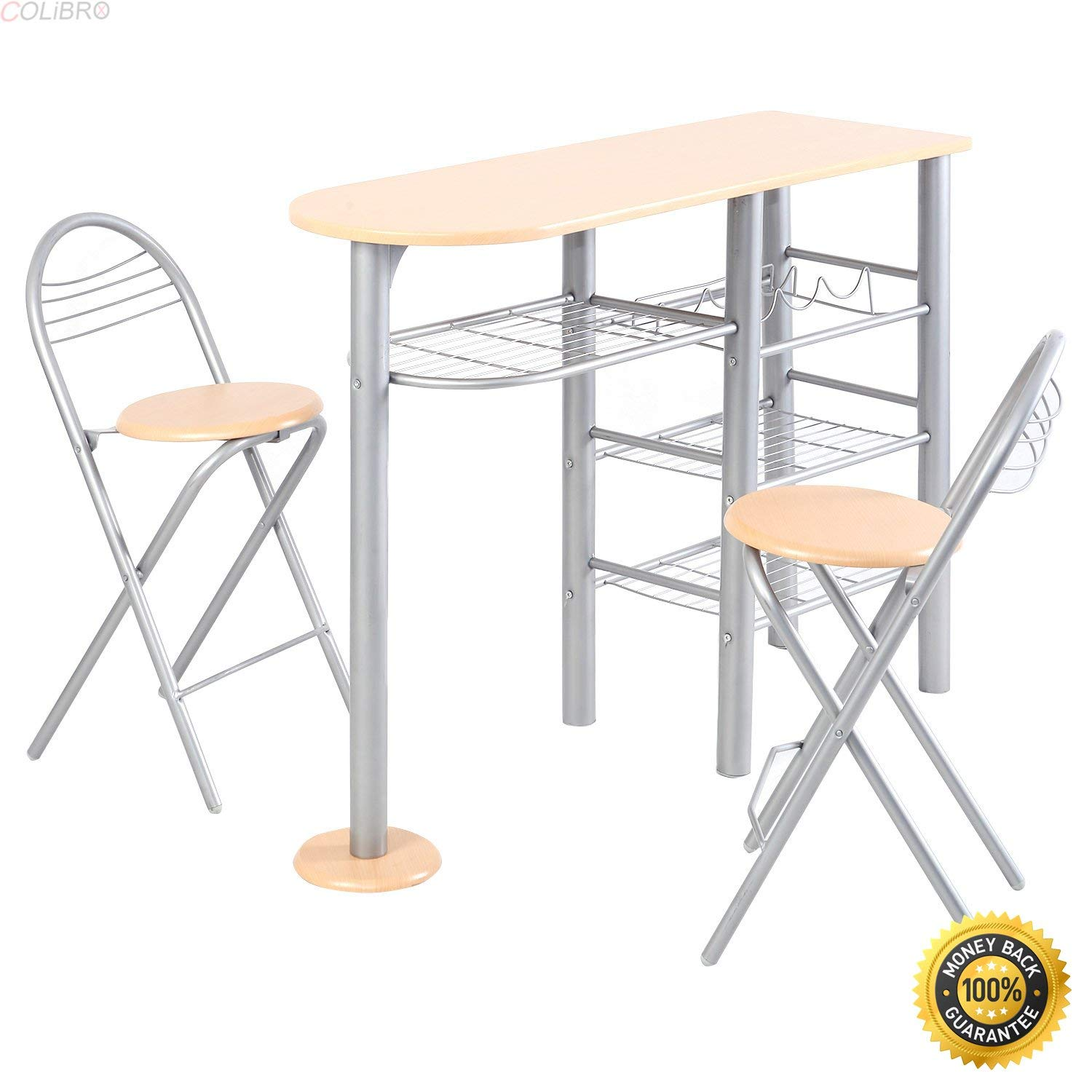 COLIBROX--Pub Dining Set Counter Height 3 Piece Table and Chairs Set Breakfast Kitchen,best bar tool set,bar set gift,stylish and functional 3-piece counter height bar set.