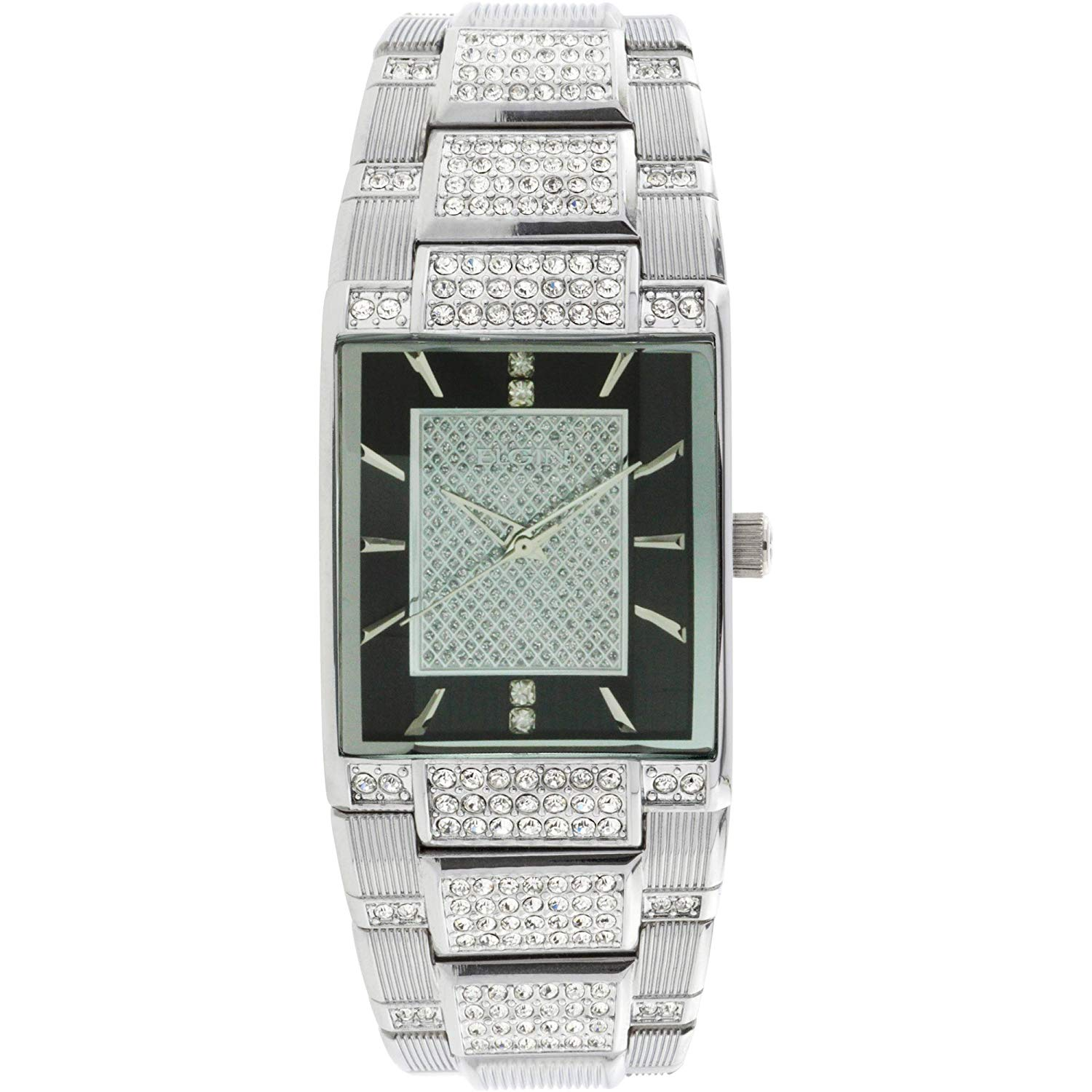 Get Quotations · Elgin Men Silver Tone Black Dial Crystal Accented Jewelry  Clasp Bracelet Watch