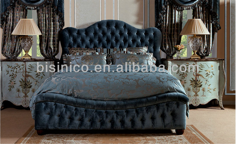 british imperial bedroom furniture set,new classical sleigh bed,blue fabric  upholstered sleeping bed and night stand - buy royal furniture bedroom
