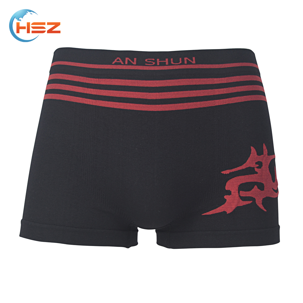 Hsz-SMB0050 Latest Seamless Mens Boxer Briefs Designs with Dragon Custom Your Own Brand Jockey Underwear for Men Factory