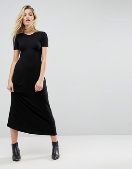 703d6bd64818 European style Ultimate Maxi Tea Dress Long Style Black T-shirt Dress Loose  Casual Long