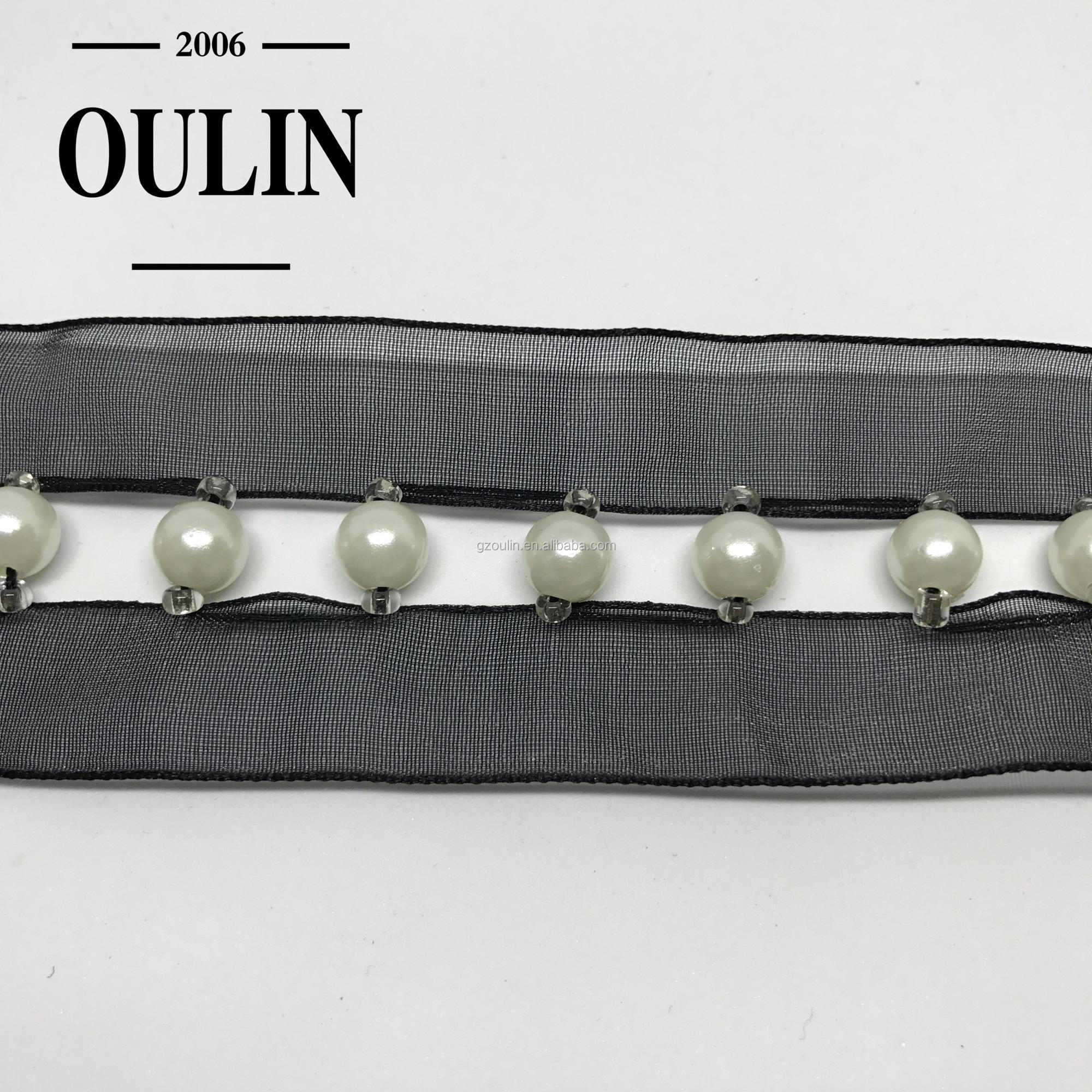 Big pearl with small pearl trims new design organza material pearl lace trim used on fashion garments