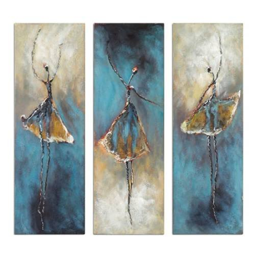 Wieco Art Dancing S Modern Large Contemporary 3 Panels 100 Hand Painted Stretched And Framed Ballet Dancers Oil Paintings On Canvas Wall Work For