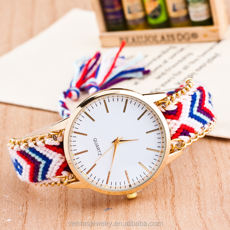 China Factory Wholesale Directly Stainless Steel Brand Braided Friendship Lady Watch