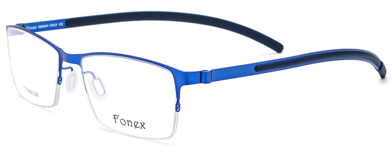 14bf7dccb9 Get Quotations · FONEX Square Prescription Optical Semi Rimless Glasses  Frames with Titanium Alloy 981