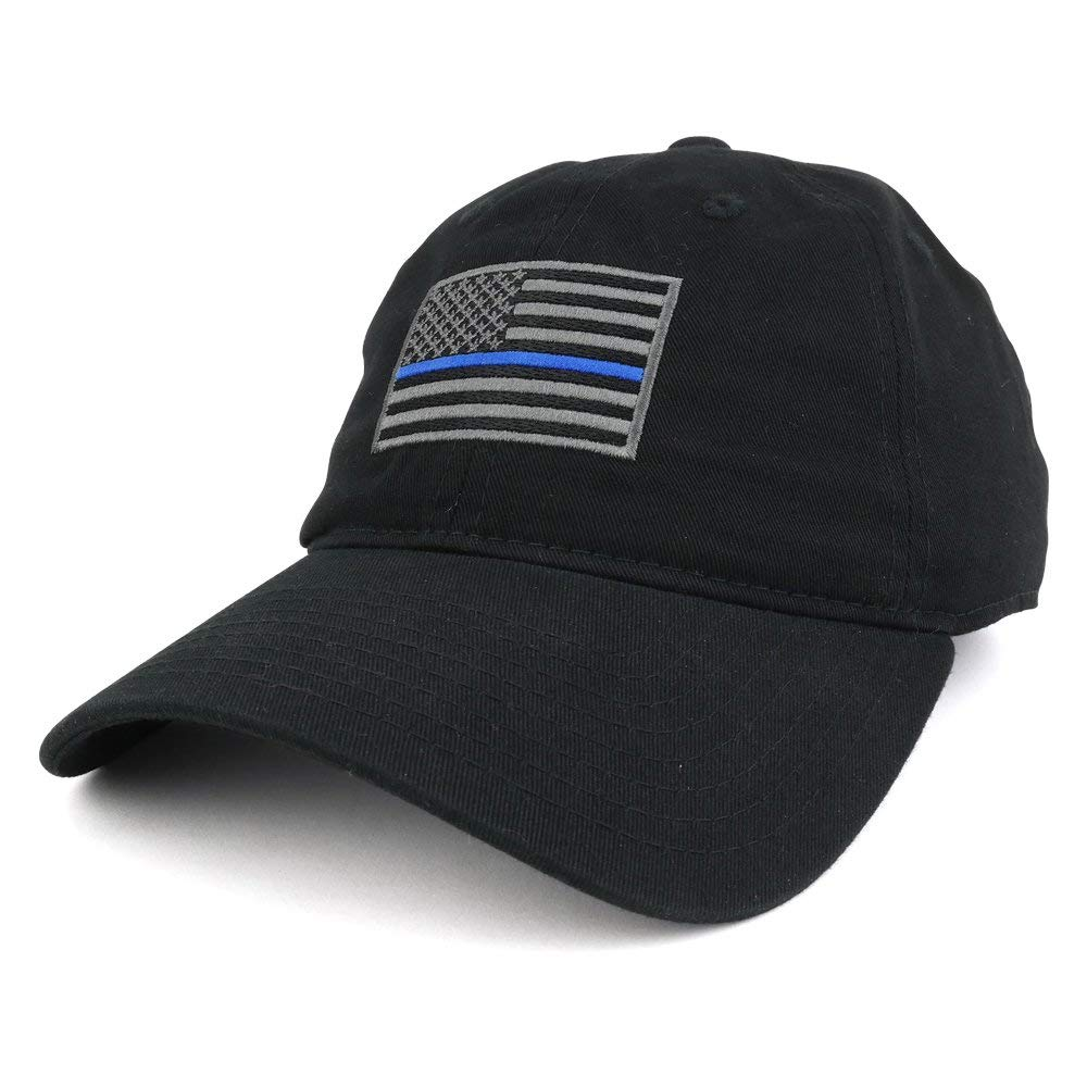 Get Quotations · Thin Blue Line Embroidered USA Flag Soft Fit Washed Cotton  Baseball Cap d603e75a6dc5