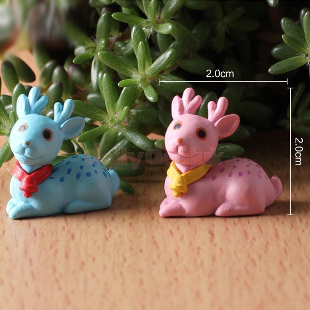 10pcs Resin Miniature Sika Deer Bonsai Figurine Terrarium Garden Ornament