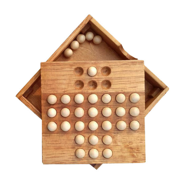 1 Set New Useful Creative IQ Test Peg Solitaire Solo Noble Puzzles Single  Board Wood Puzzle Game Toy for Adults Children Gifts