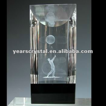 china supply 3d laser crystal golf trophy/crystal golf cup for souvenir and corporation display(R-0518)