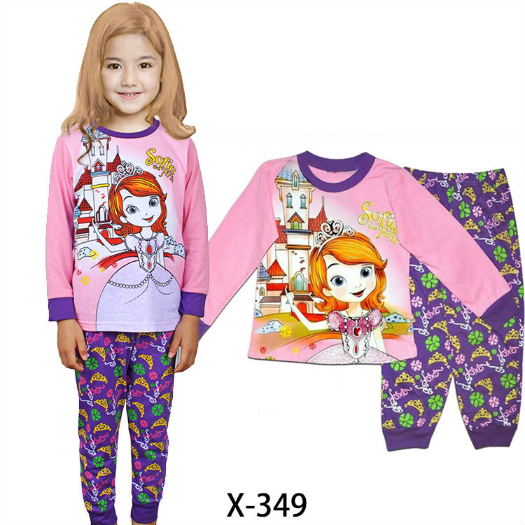 wholesale baby girls princess pajamas sets kids cotton sleepwear