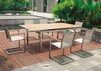 Luxury stainless steel teak garden dining table and chair set MY-4013