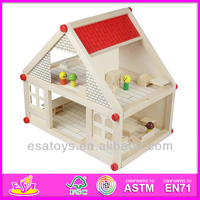 2015 New Wooden toy doll house,popular wooden dollhouse furniture and hot sale kids wooden dollhouse set W06A033