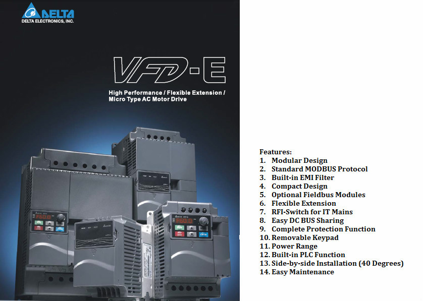Vfd004e23a 0.5hp 400w 230v Original Taiwan Delta Speed Control Ac ...