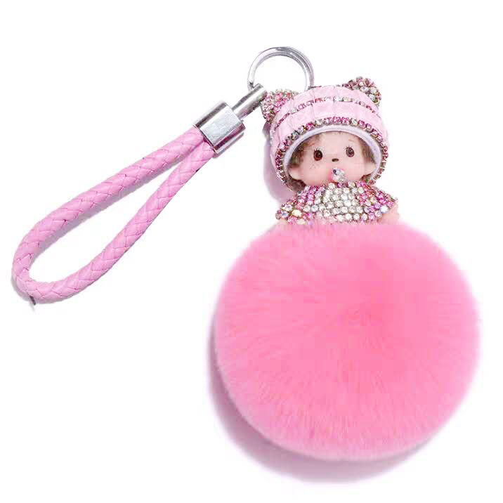 Car Keychains/Key Chains for sale pendant Fine Rabbit Hair Ball Doll wash supplies wholesale crystal