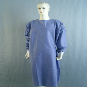 Disposable Pink Surgical Drape With Hook And Gown Loop Neck Closure Knit Cuffs