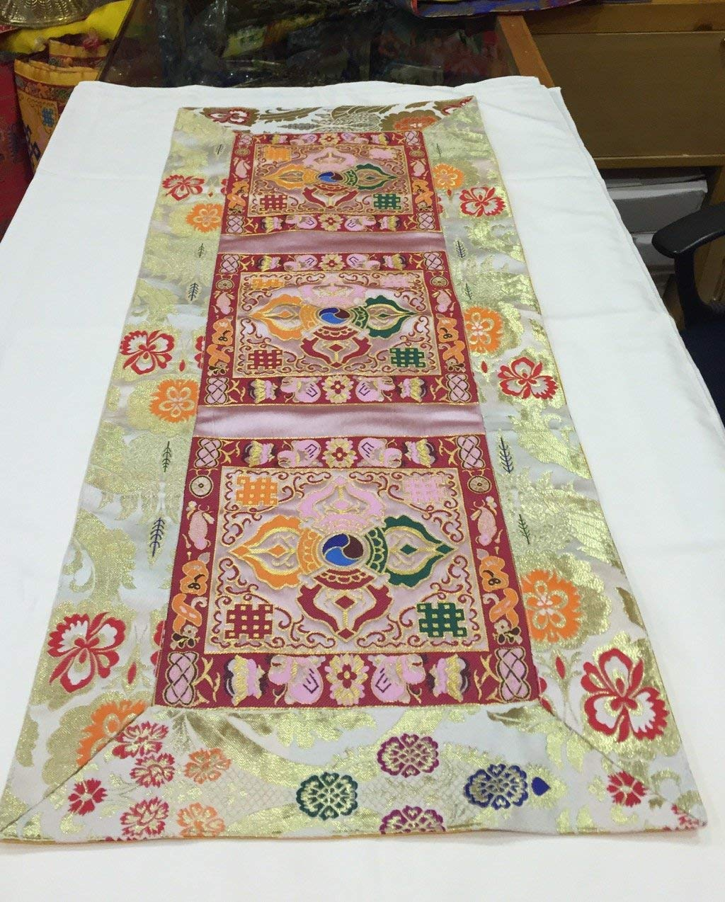 Tibetan Silk Brocade Blue Norbu Table Runner// Cover//Altar Cloth// Shrine Cloth