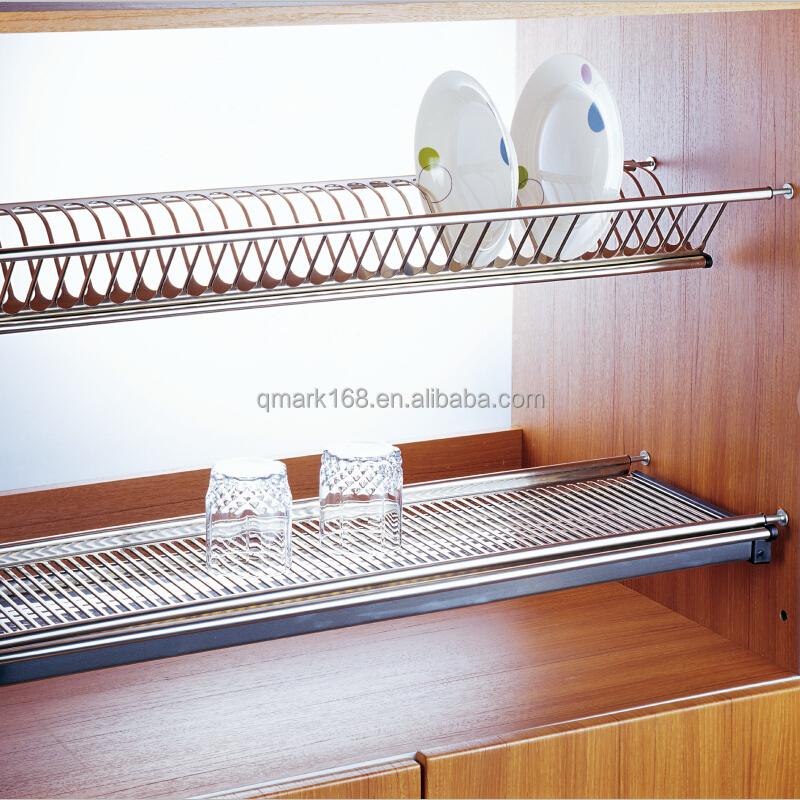 2 tiers stainless steel kitchen utensil rack /plate dish(201.001.750)