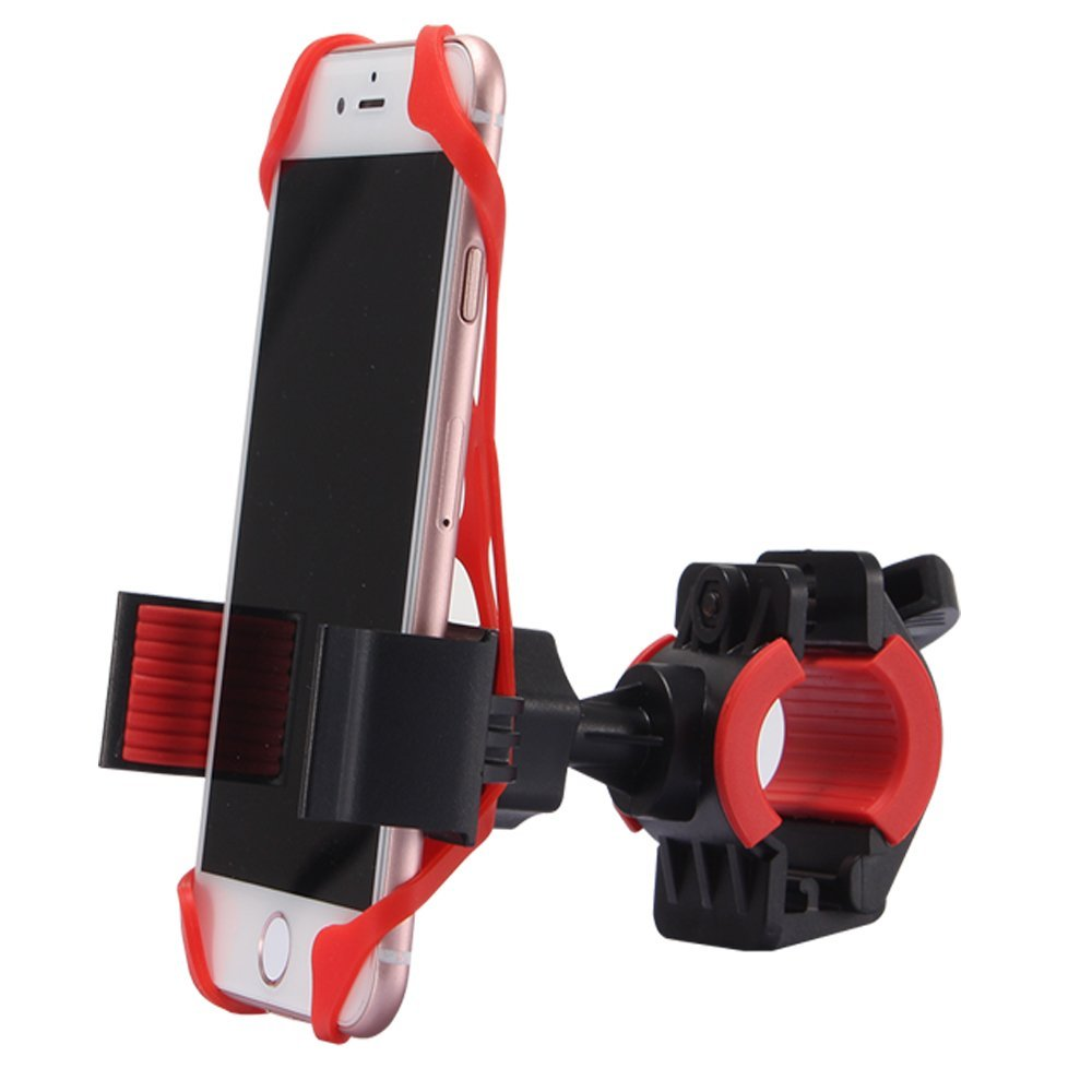 SUNKY - Universal Smartphone Bike Mount Holder, Dual Protector Silicone MTB Bicycle Motorcycle Handlebar Stand for iPhone 7/6S/6 Plus/5S/SE/5C/5, Samsung Galaxy S7/S6 Edge/S5/S4/Note5/4/3 GPS