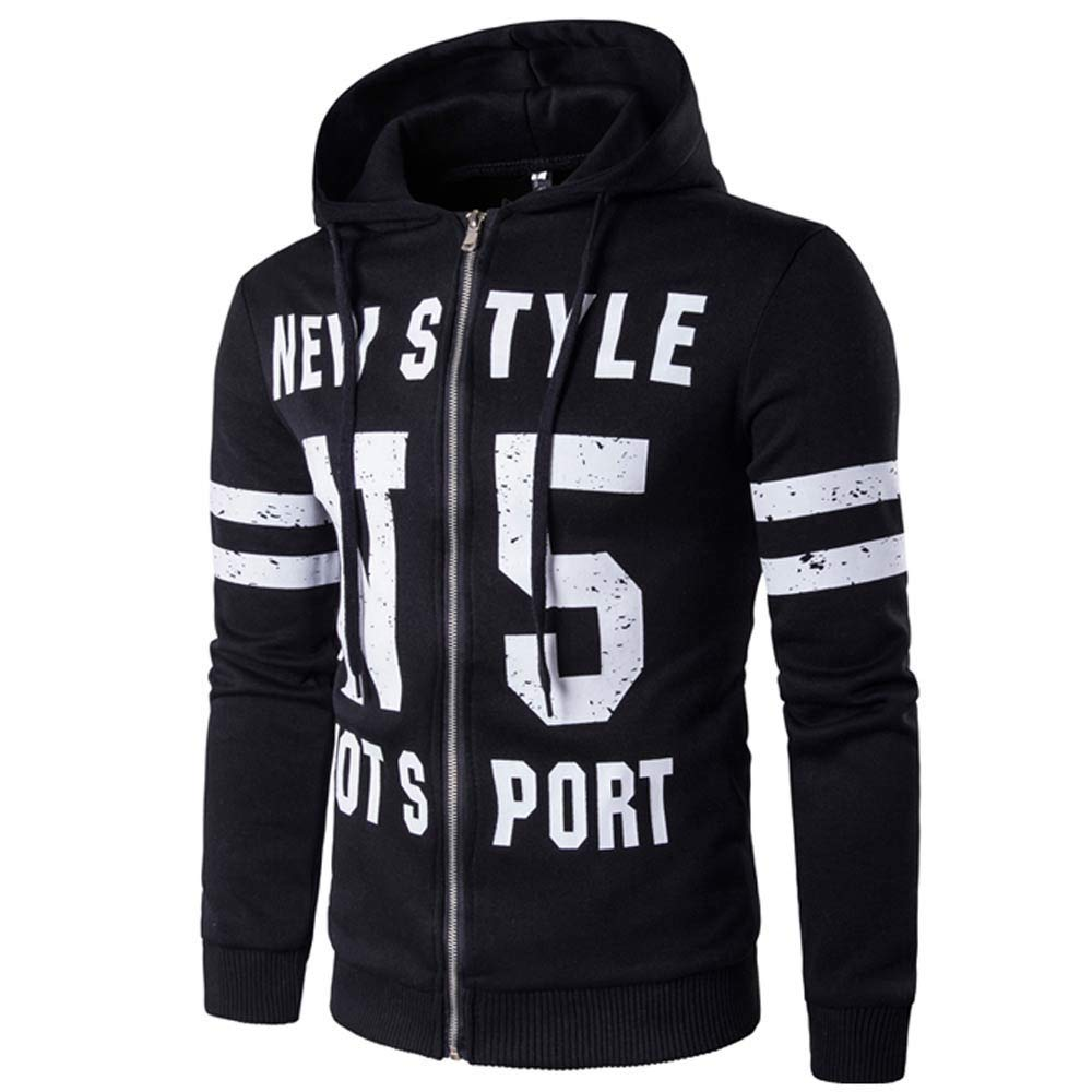Men's Hoodies Sweatshirt Clearance! Jiayit Mens Letter Zipper Pullover Long Sleeve Hooded Sweatshirt Tops Blouse
